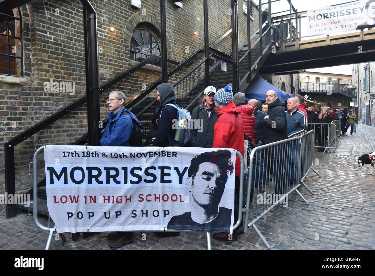 Camden Market, London, UK. 17th Nov, 2017. Morrissey pop-up shop in Camden market to launch his new album Low in - Stock Image