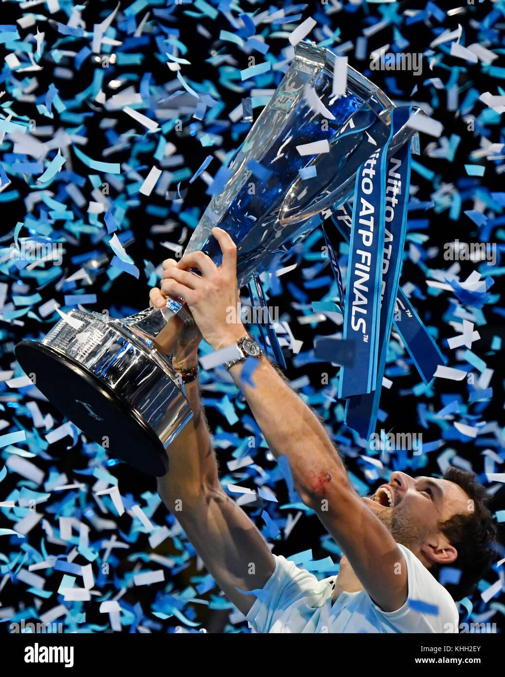 Nitto ATP World Tour Finals at O2 Arena London, UK. 19th Nov, 2017. FINAL Gregor Dimitrov BUL v David Goffin BEL - Stock Image