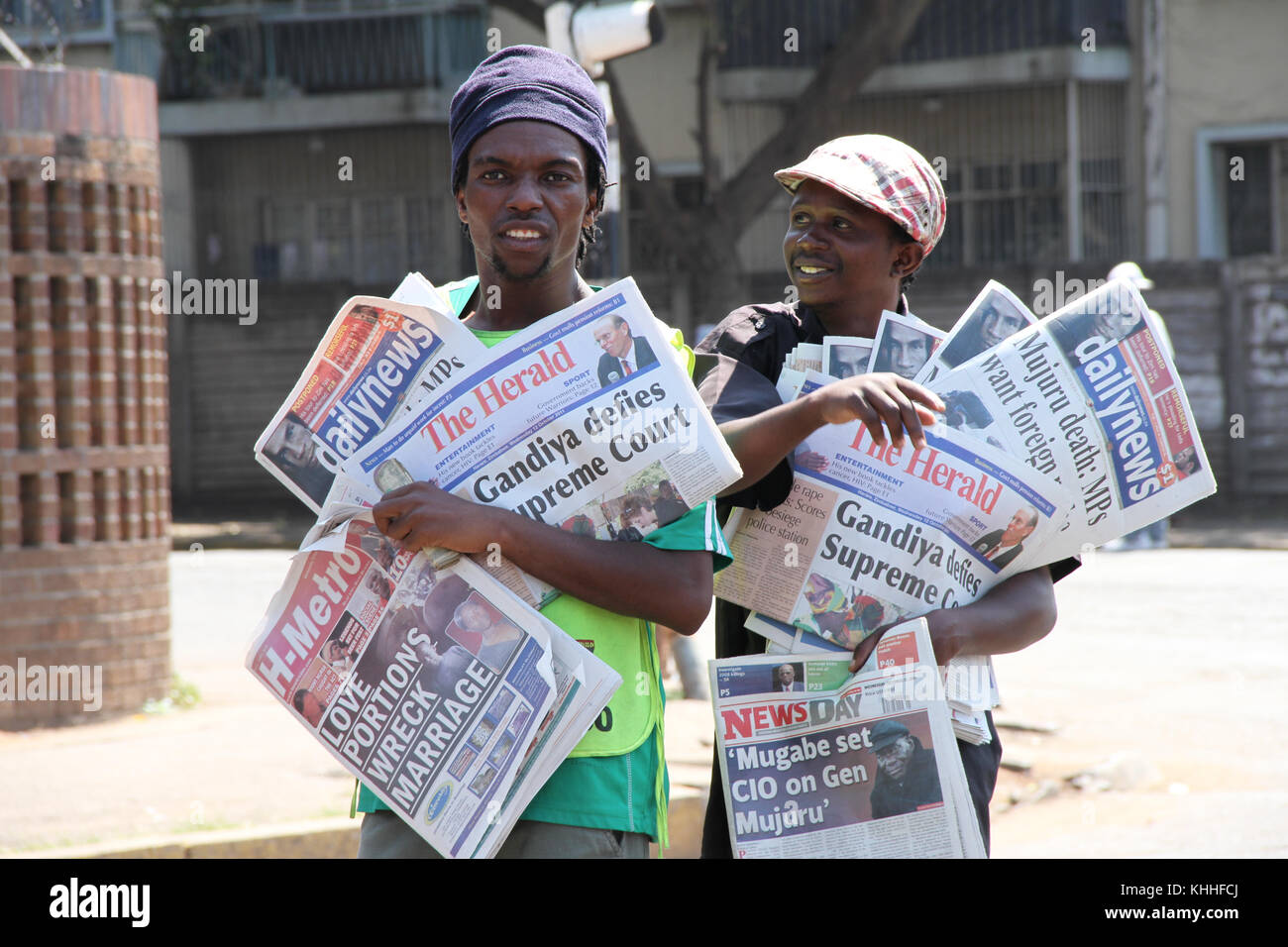 HARARE, ZIMBABWE -  12 October 2011:  Newspaper venders with the days dailies in the streets Harare. Credit: David - Stock Image