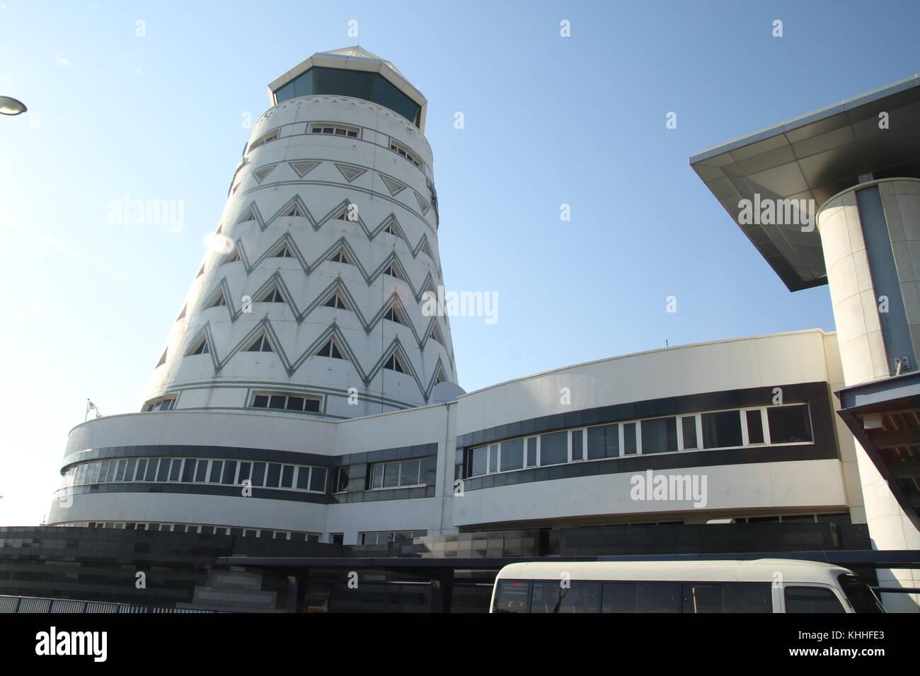 Harare, Zimbabwe - 10 October 2011: The conical shaped tower at Harare International Airport. Credit: David Mbiyu/Alamy - Stock Image