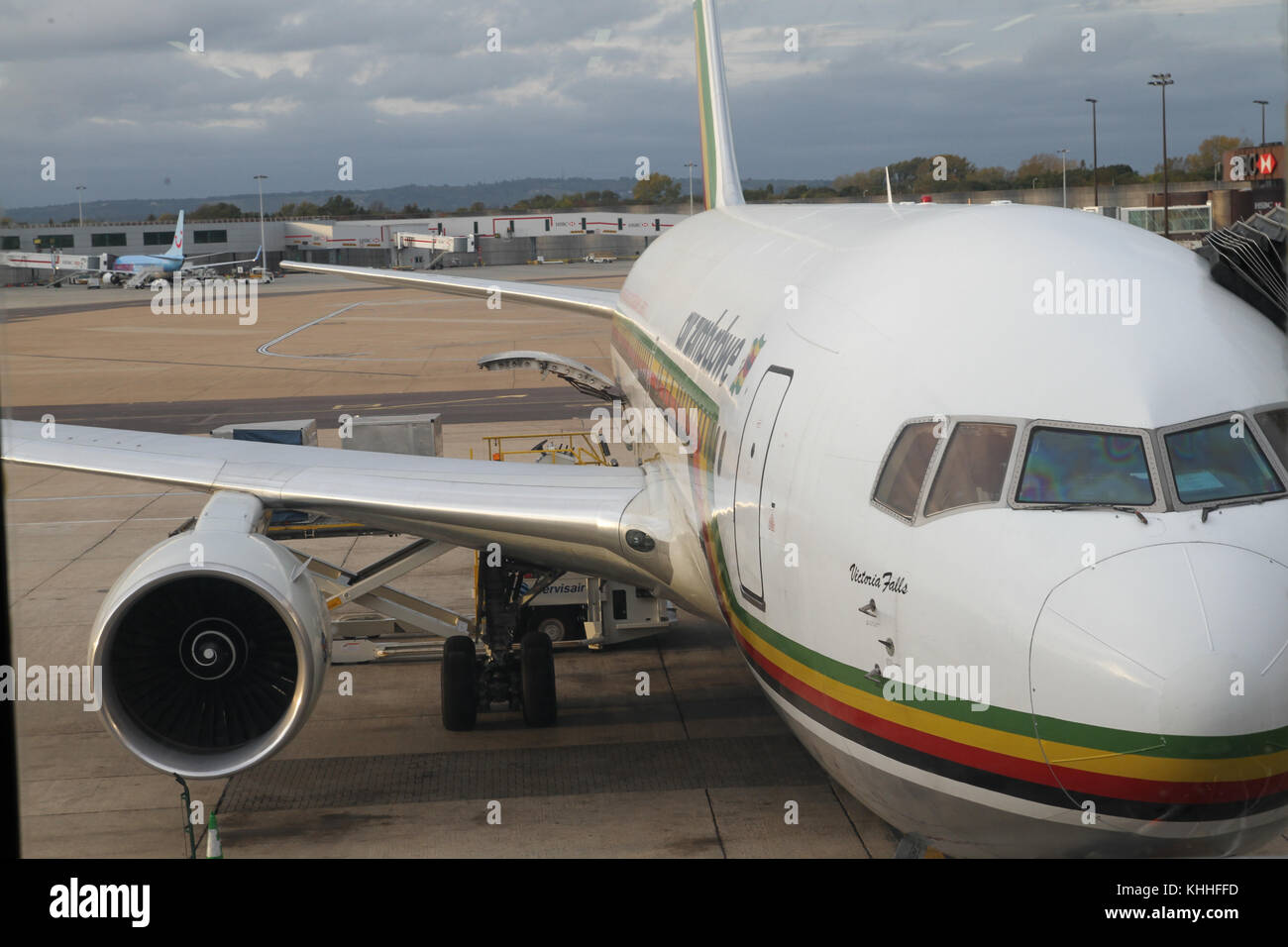 Gatwick, UK - 10 October 2011: Air Zimbabwe airbus christened 'Victoria Falls' ready for the 9.5-hour direct - Stock Image