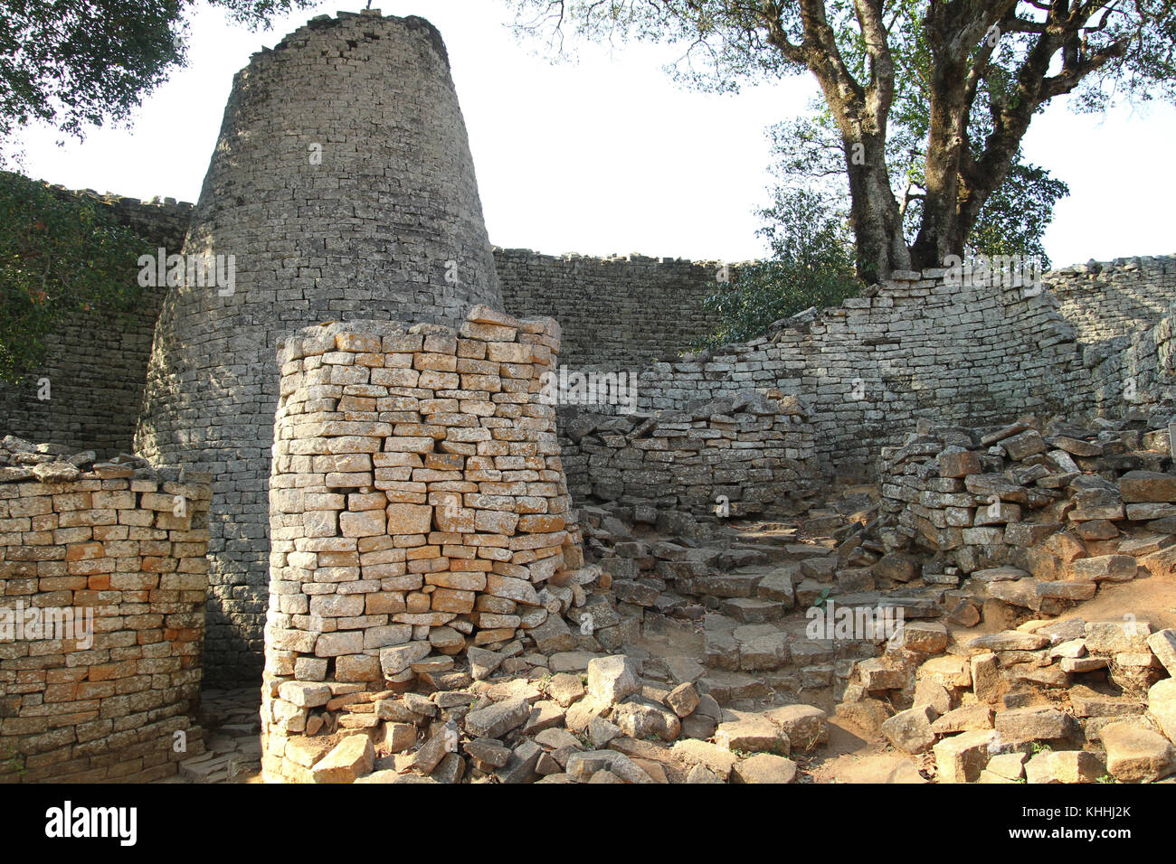 GREAT ZIMBAWE, ZIMBABWE -  16 October 2011:. The Great Zimbabwe tower that is located in the Great Enclosure. This - Stock Image