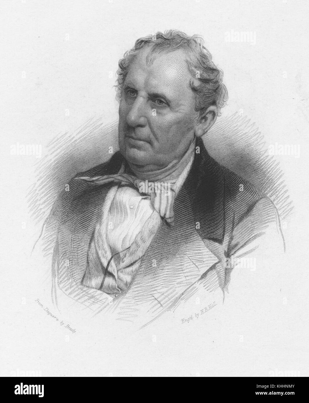 Engraved portrait of James Fenimore Cooper, author of The Last of the Mohicans, by HB Hall from a daguerreotype - Stock Image