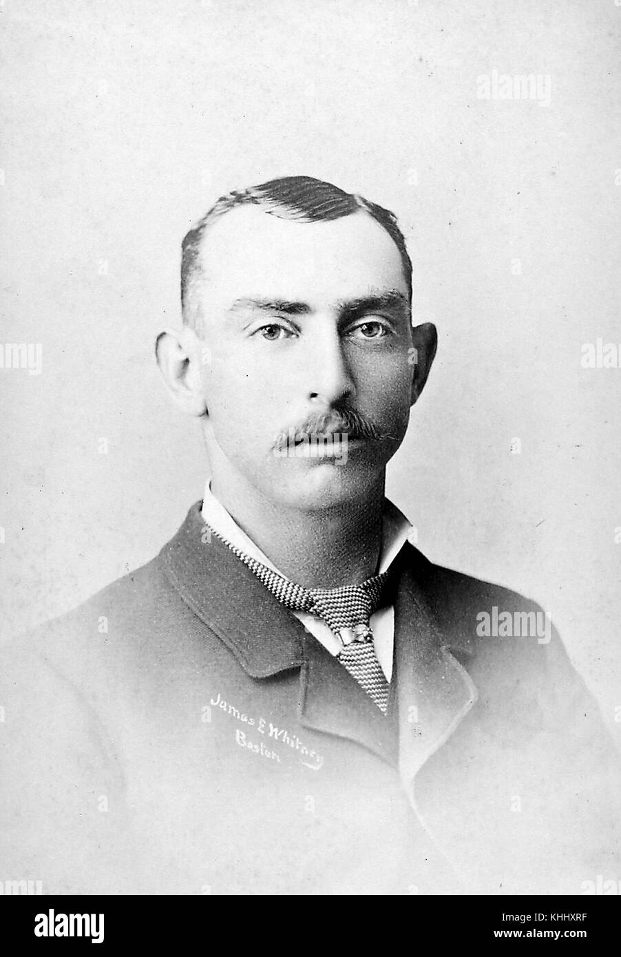 Half length portrait of Jim Whitney, right-handed pitcher over parts of ten seasons (18811890) with the Boston Red - Stock Image