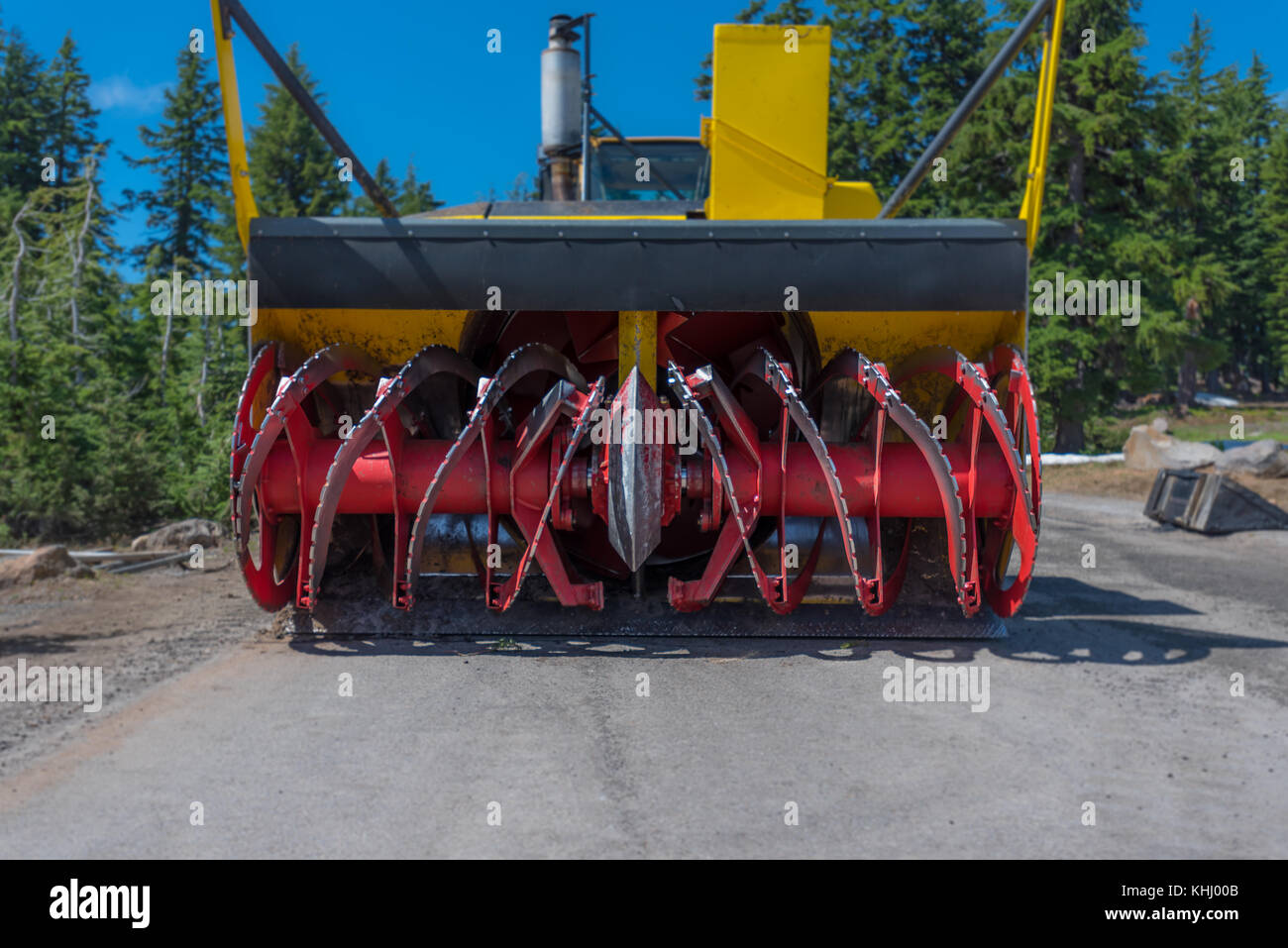Low Angle View of Red Snow Blower Blades - Stock Image