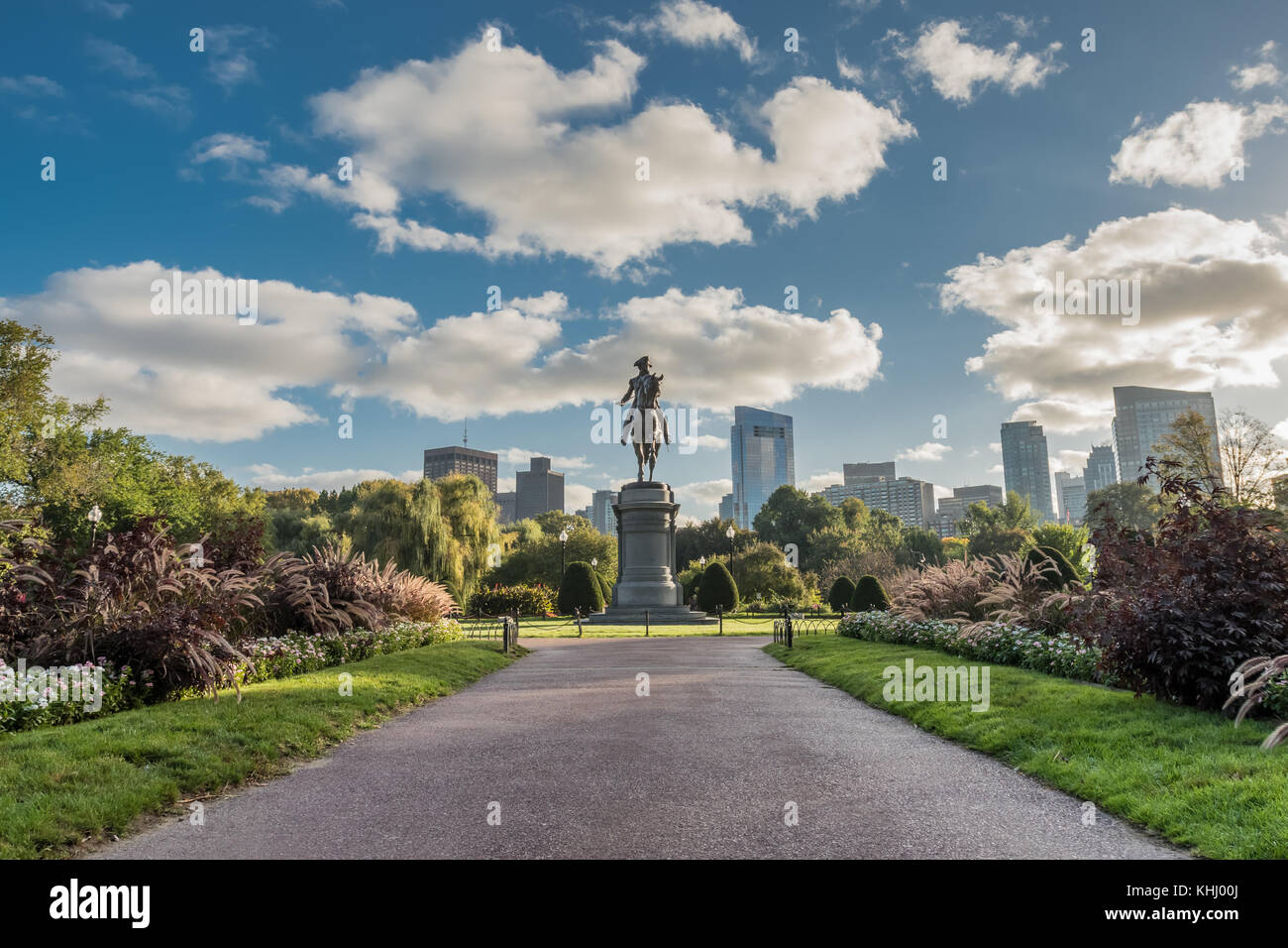 Boston, United States: October 13, 2017: Looking Down Walkway to Washington Statue in Boston Public Garden - Stock Image