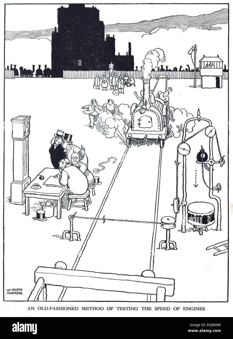 Old fashioned method of testing the speed of engines, Cartoon by William Heath Robinson - Stock Image