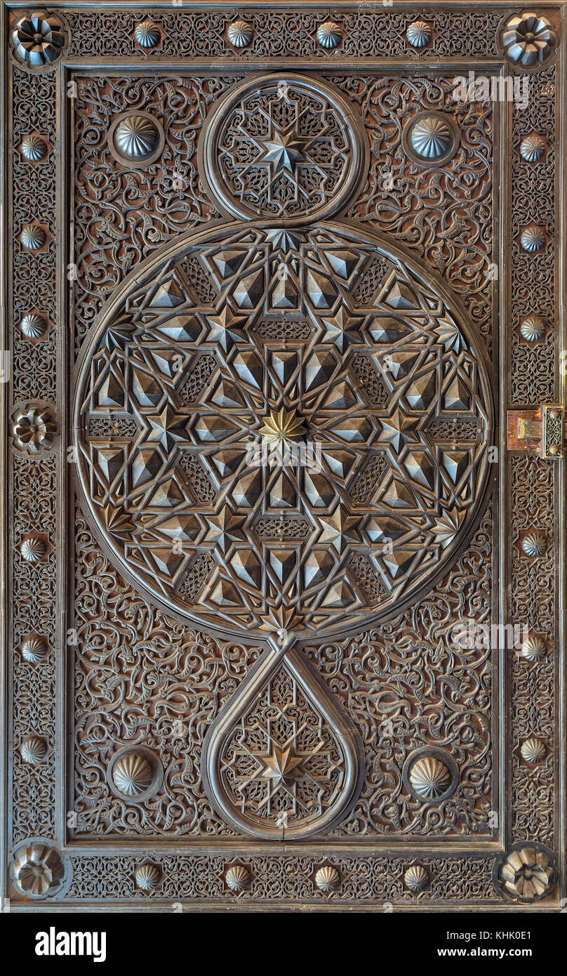 Ornaments of the bronze-plate ornate door of the mosque of The Manial Palace of Prince Mohammed Ali Tewfik, Cairo, - Stock Image