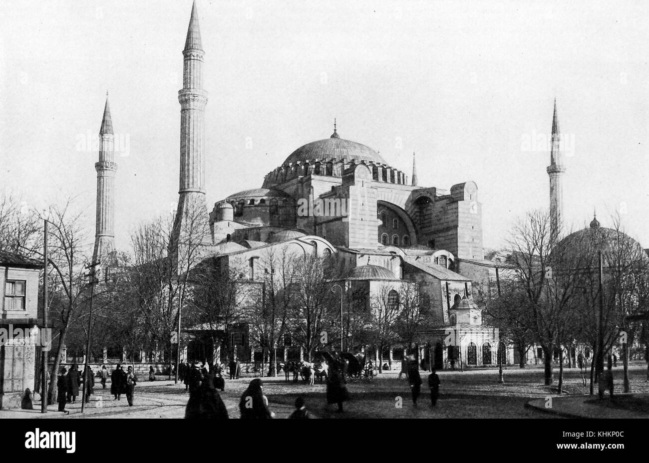 View of Hagia Sofia Basilica, in Turkey, founded in 532 by Justinian the Great, Turkey, July, 1922. - Stock Image