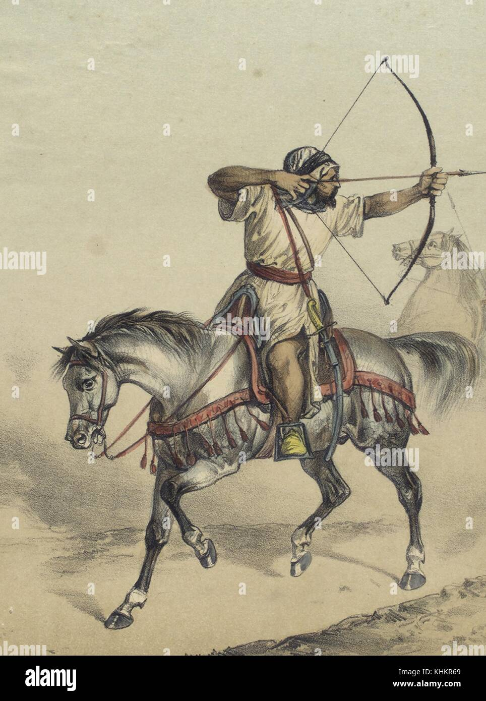 Color lithograph depicting an Arab soldier from 1410, on horseback, shooting a bow and arrow, from the book Album - Stock Image