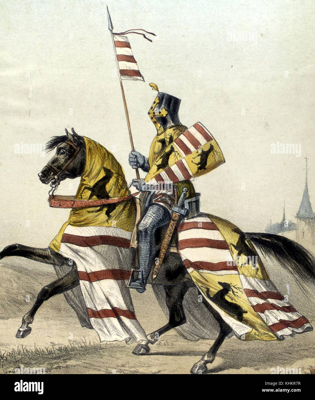 Color lithograph depicting a Spanish Army Baron, with suit of armor, including face shield, holding a flag, from - Stock Image