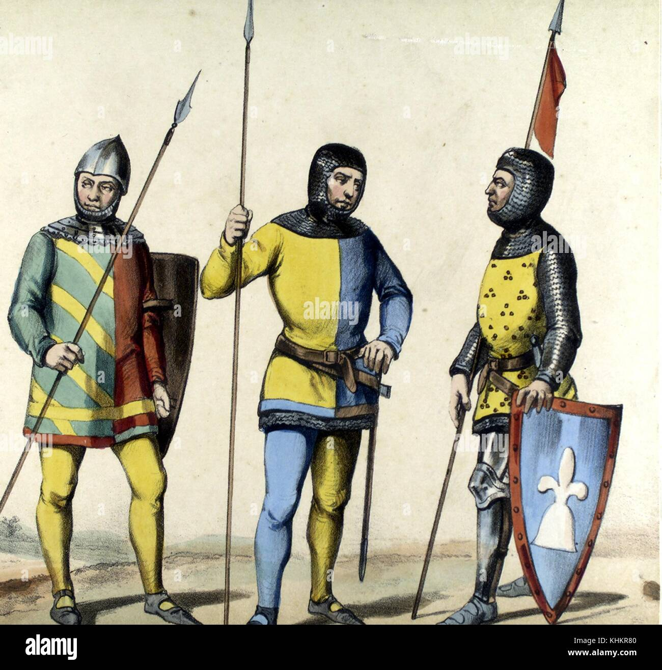 Color lithograph depicting average XIV century Spanish Lanceros (Lancers), from the book Album de la Infanteria - Stock Image