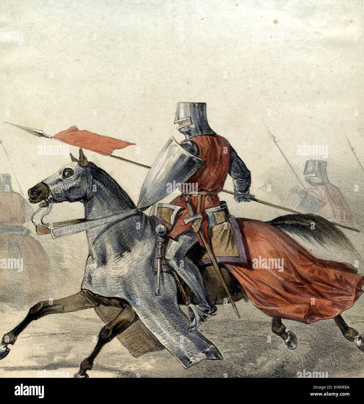 Color lithograph depicting a Spanish Hombre de Armas (Man of Arms) from 1300, on horseback, both in full armor, - Stock Image