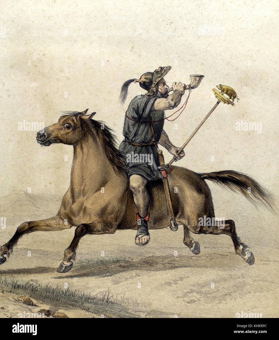 Color lithograph depicting a primitive cavalry Celtibero, members of a pre-Roman Hispanic settlement established - Stock Image
