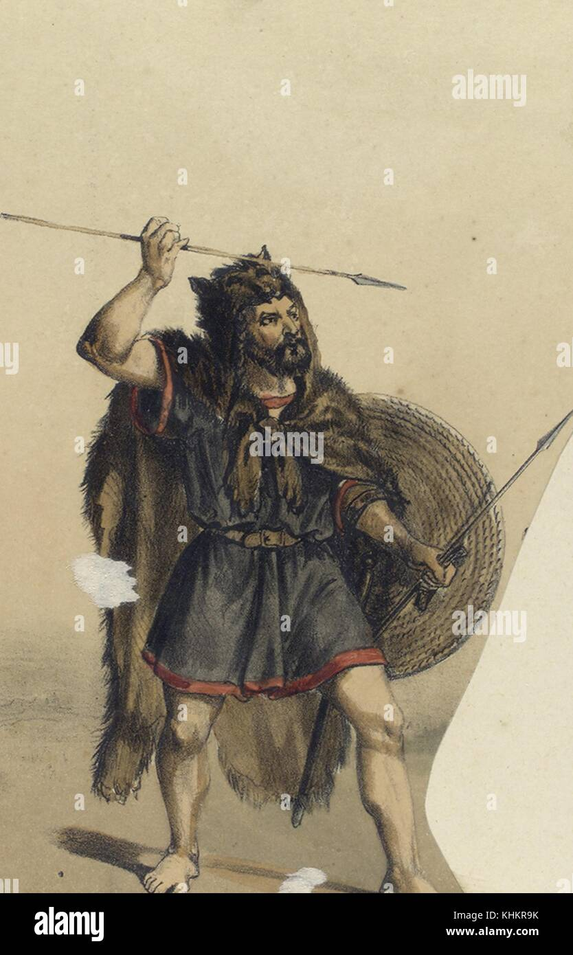 Color lithograph depicting an Astur soldier, wearing an animal pelt, and holding lances and a shield, primitive - Stock Image