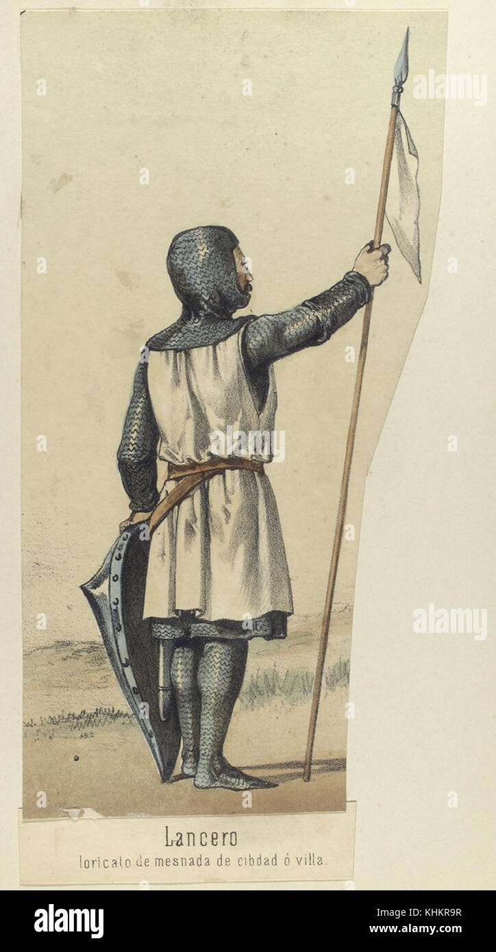 Color lithograph depicting a XII century Lancer, circa 1160, in armor, holding a shield and flag, from the book - Stock Image
