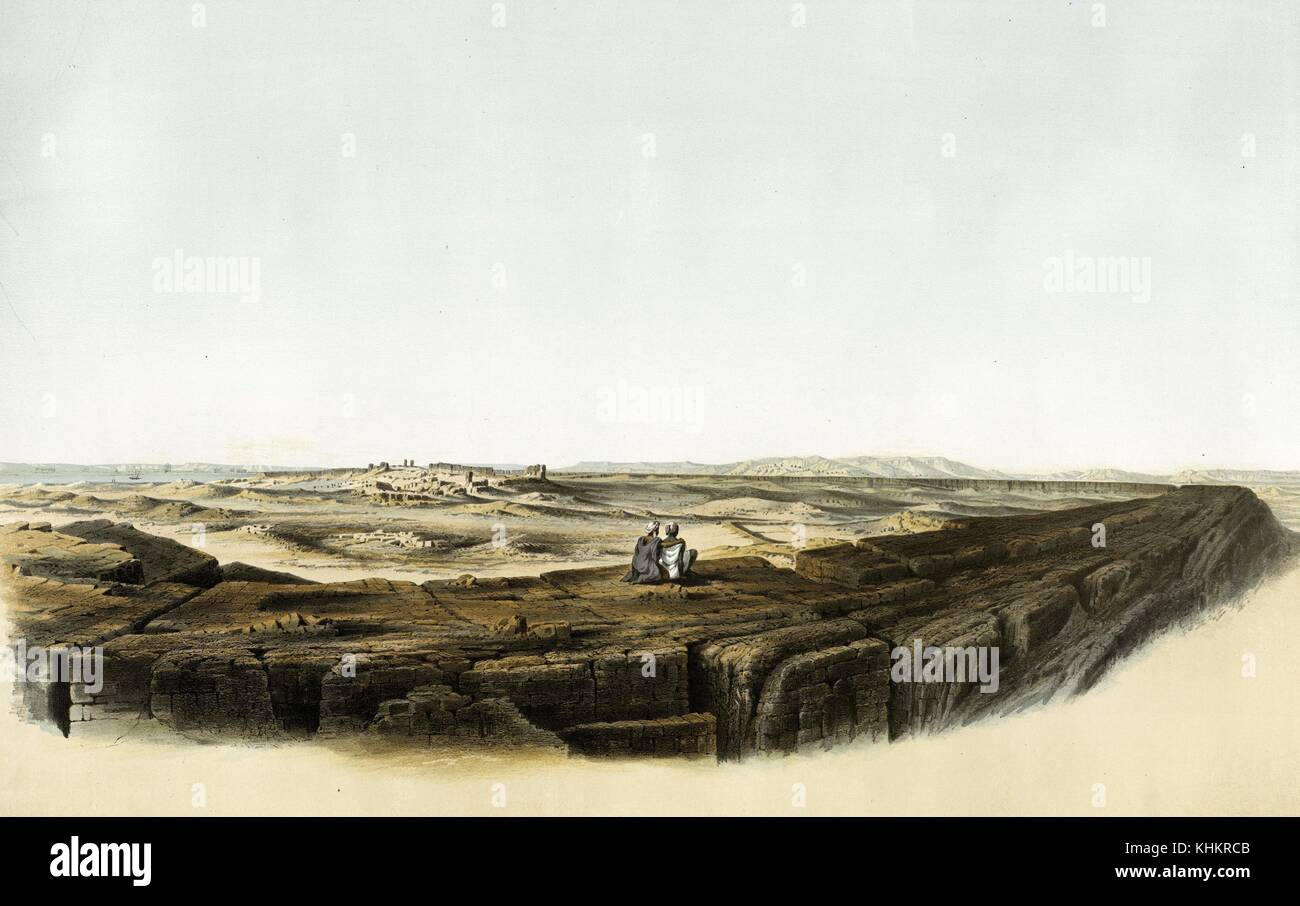 Color lithograph of two people sitting atop a large rock, looking at ruins in the distance, titled Stadtruinen von - Stock Image
