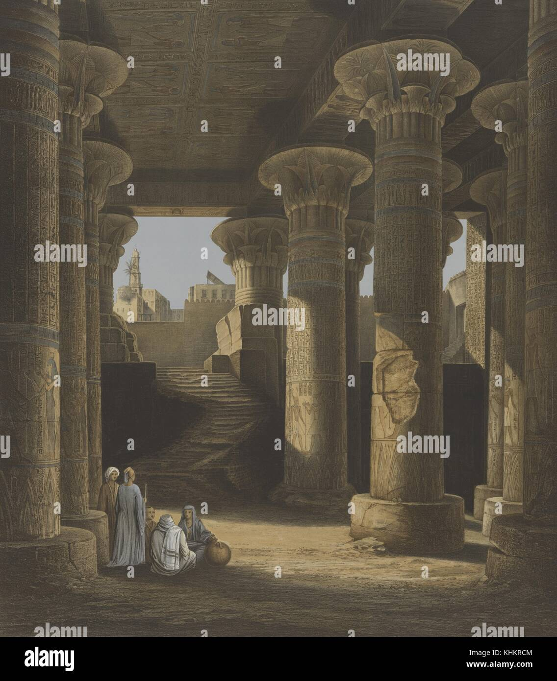 Inside view of the portico of Esneh [isna], Egypt, 1852. From the New York Public Library. - Stock Image
