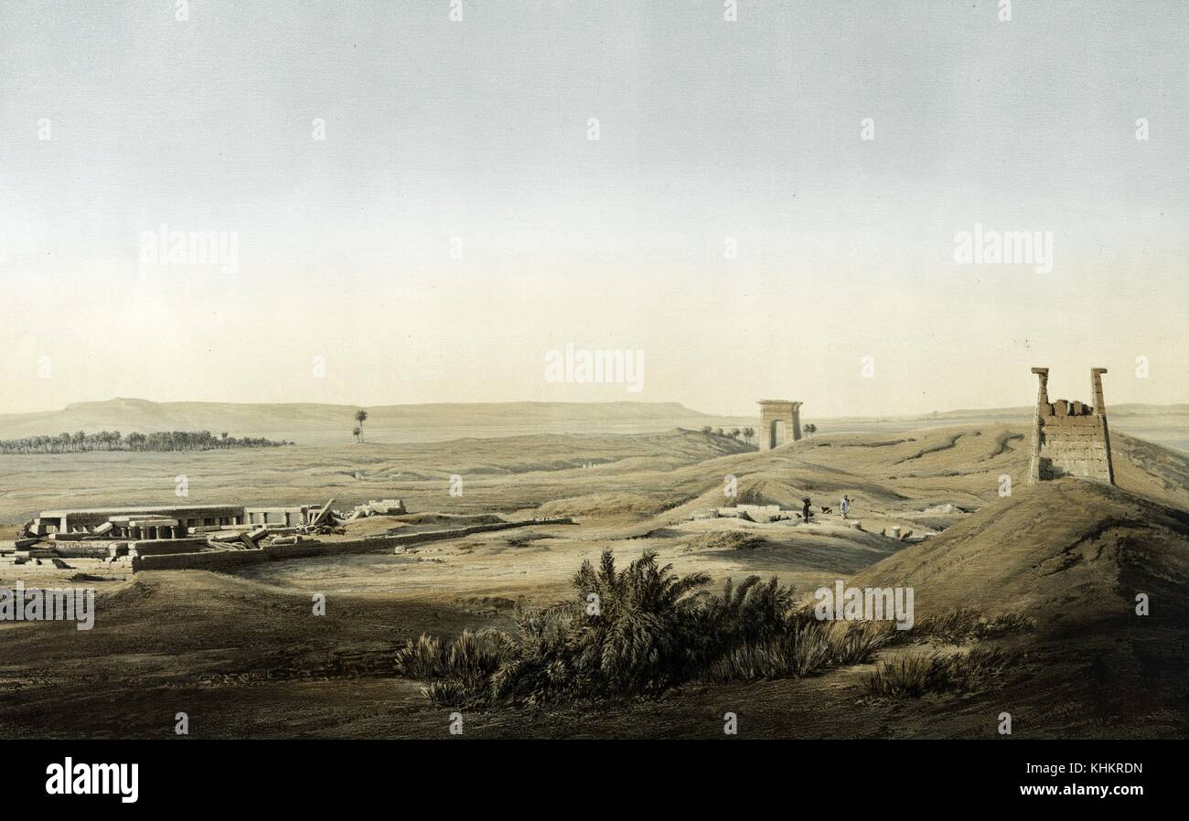 Color lithograph showing a view of the ruins of eastern Thebes, titled Ansicht der Ruinen des ostlichen Theben, - Stock Image