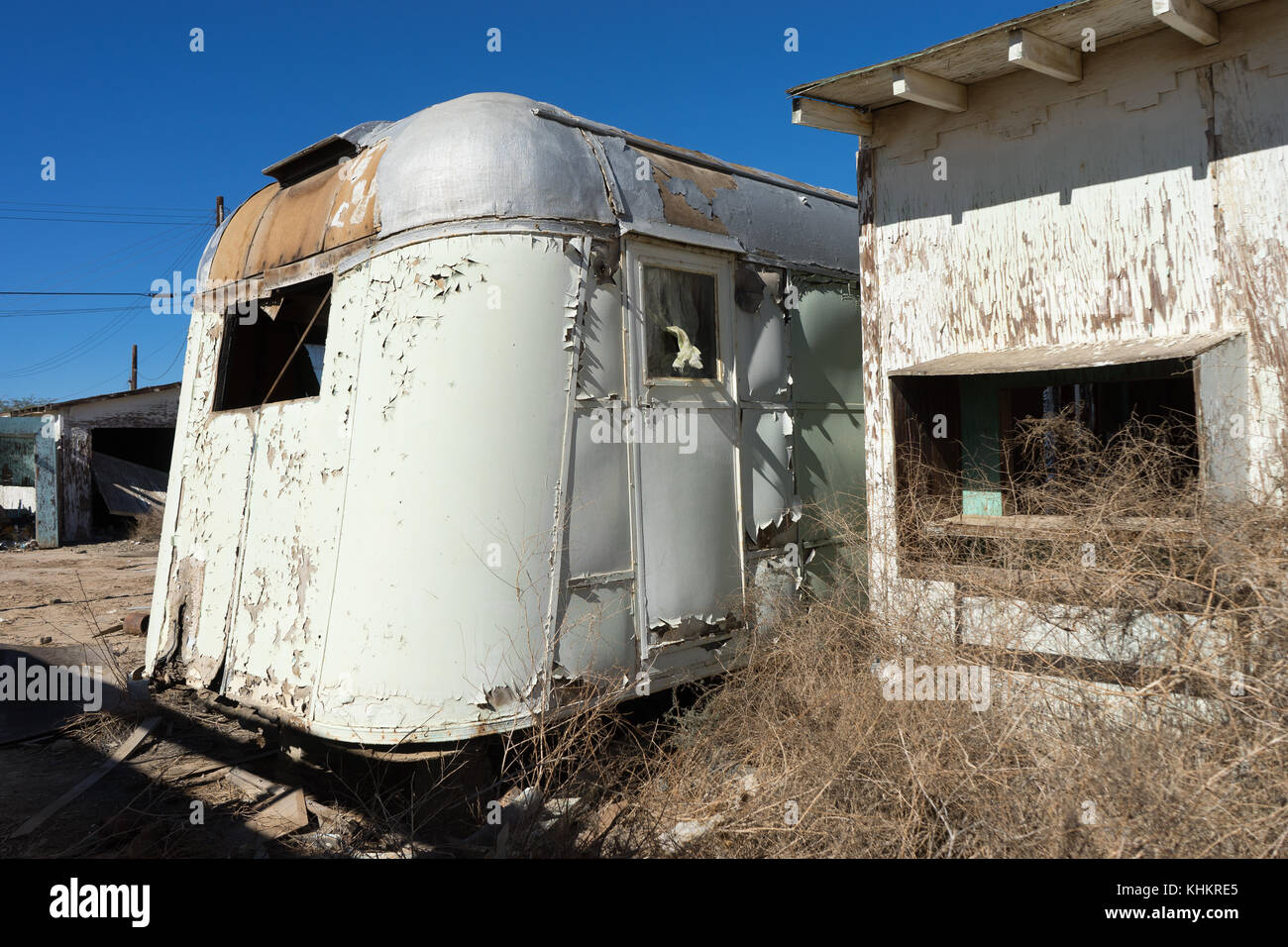 abandoned trailer in Bombay Beach California - Stock Image