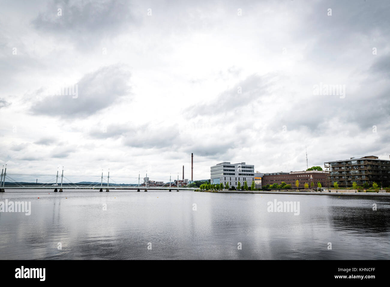 Cityscape with a bridge and appartments in Jönköping a larger swedish city - Stock Image