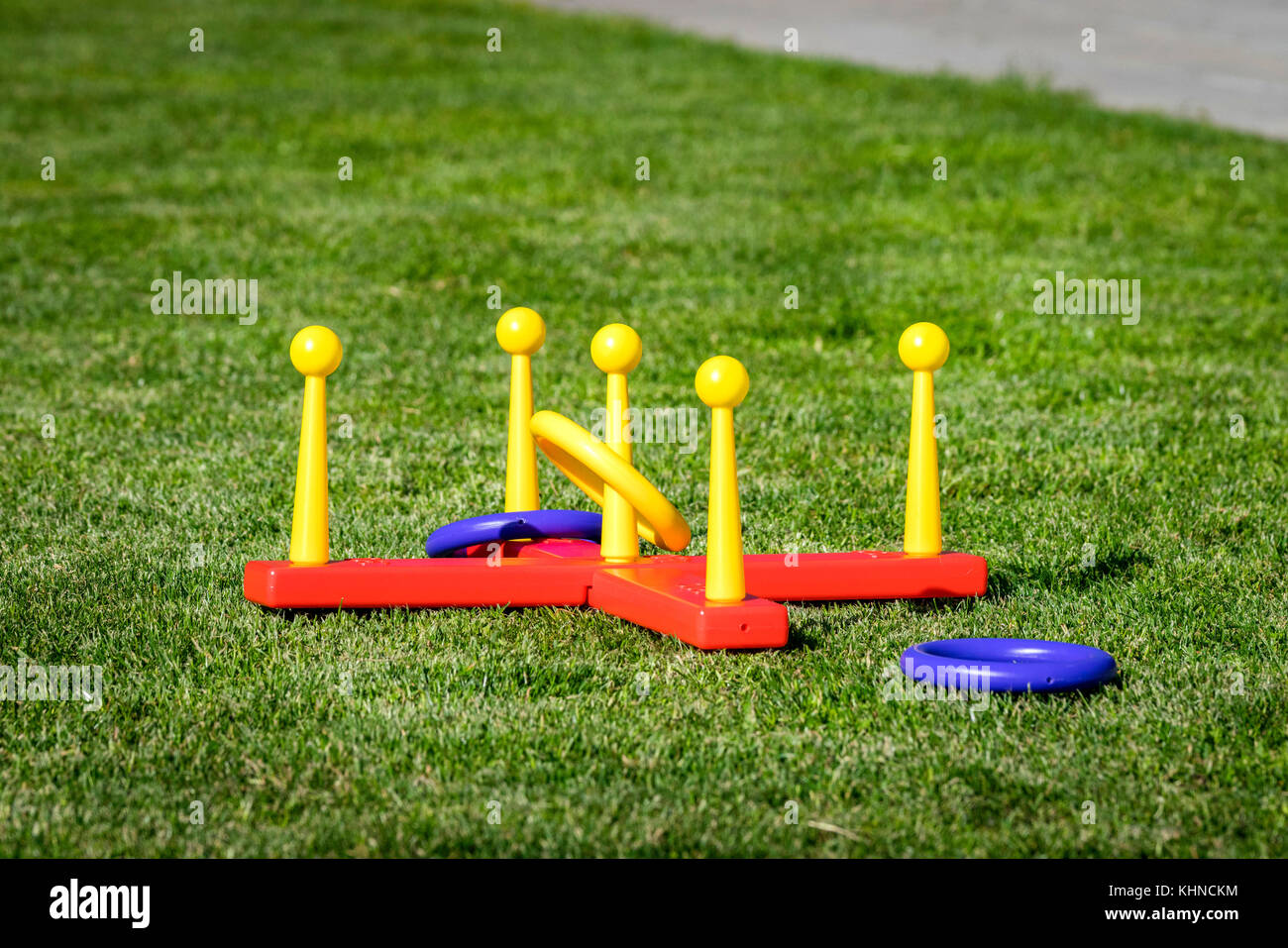 Outdoor ring game often used as an activity in the backyard in the summer - Stock Image