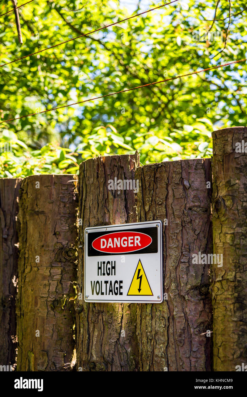High voltage sign on a wooden fence with electrical wires in a park with green trees - Stock Image