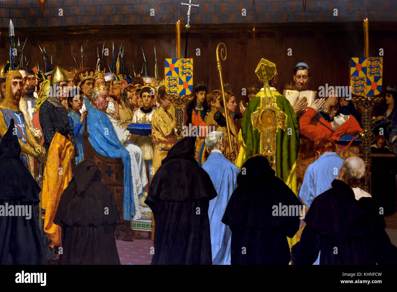 Funeral for Charles Le Bon, held in Bruges in St Christophe church on 22 April 1127 ( detail ) 1876  Jan Van Beers - Stock Image