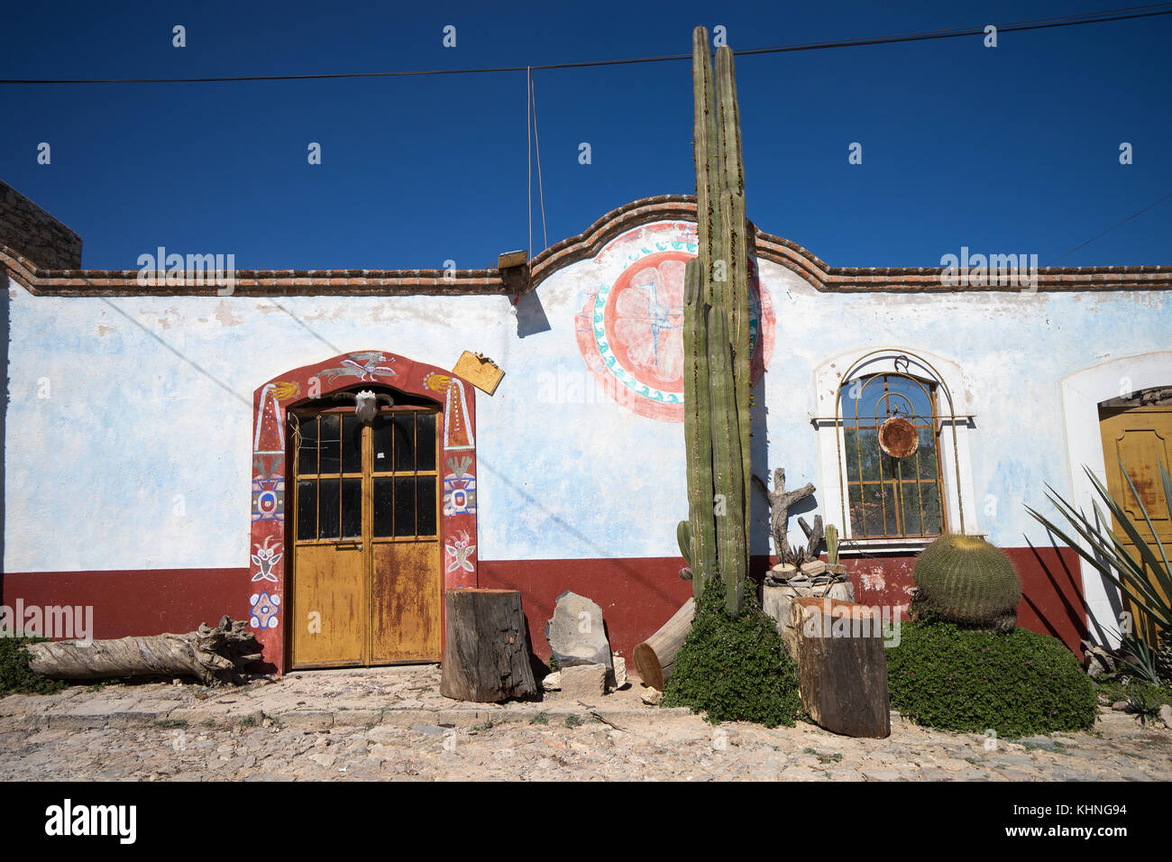 Mexican architecture in Mineral de Pozos - Stock Image