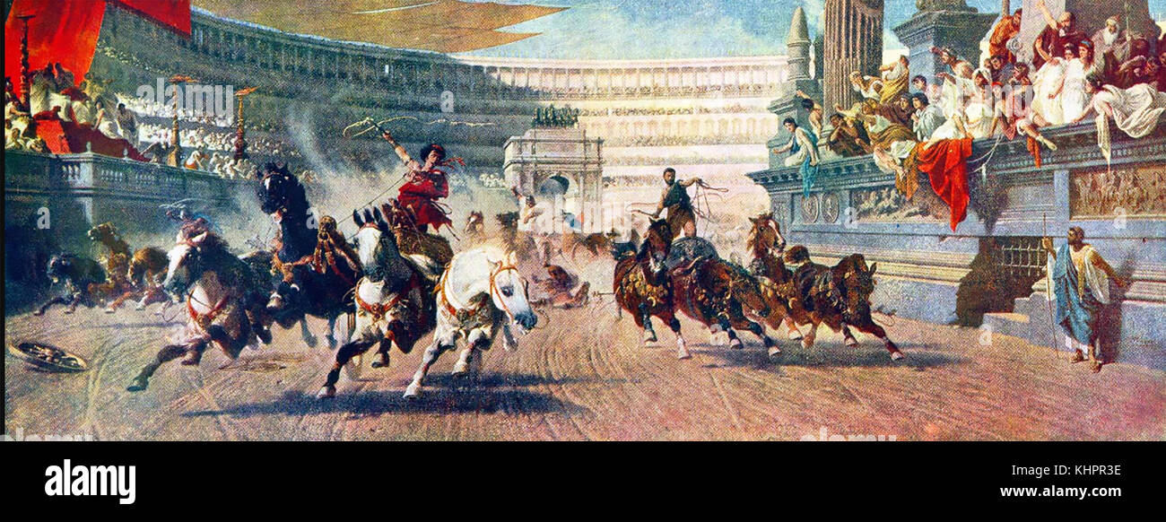CHARIOT RACING in ancient Rome. A 19th century painting. - Stock Image