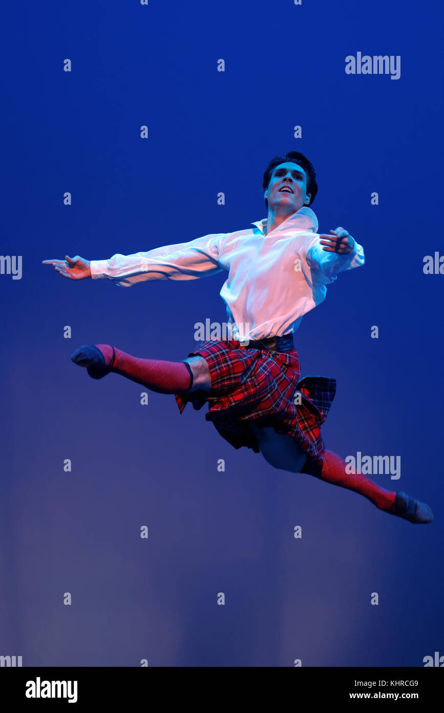 St. Petersburg, Russia - November 16, 2017: Ballet soloist of Mariinsky theater Timur Askerov performs during gala - Stock Image