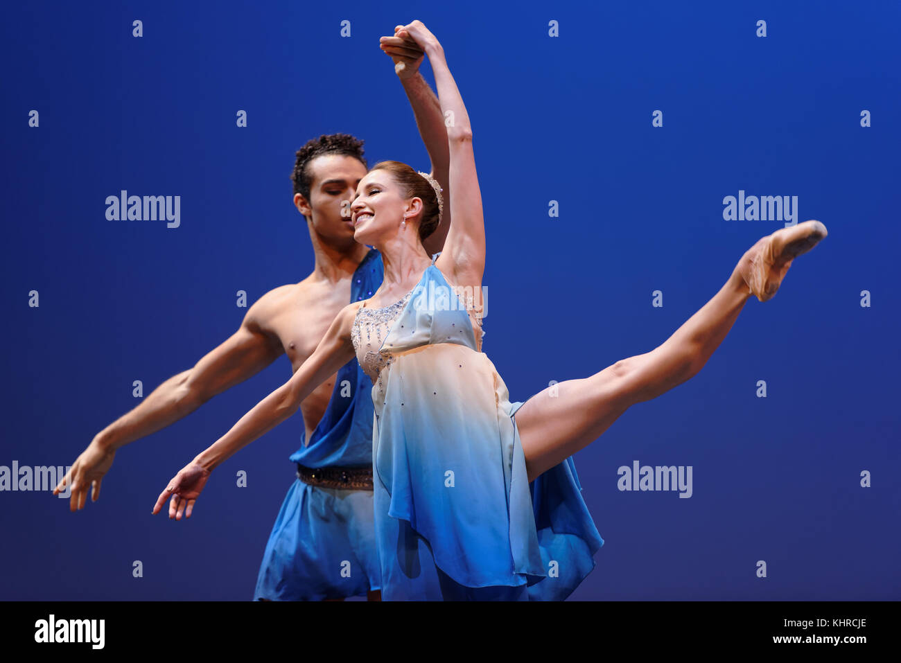 St. Petersburg, Russia - November 16, 2017: Ballet soloists of Mikhailovsky theater Sabina Yapparova and Adrian - Stock Image
