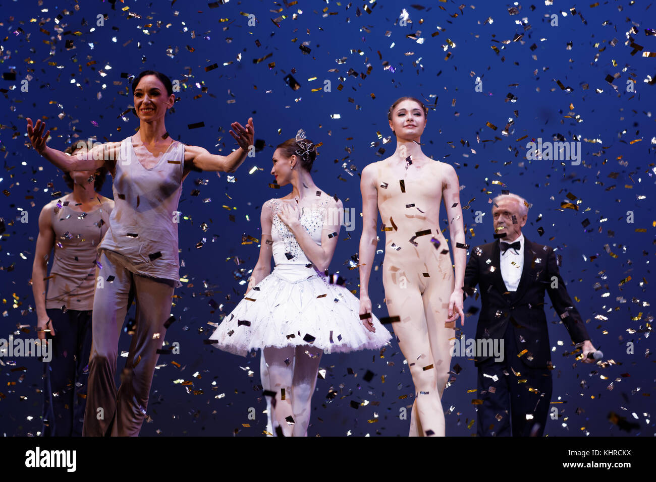 St. Petersburg, Russia - November 16, 2017: Ballet dancers on the stage after anniversary gala concert of Oleg Vinogradov - Stock Image