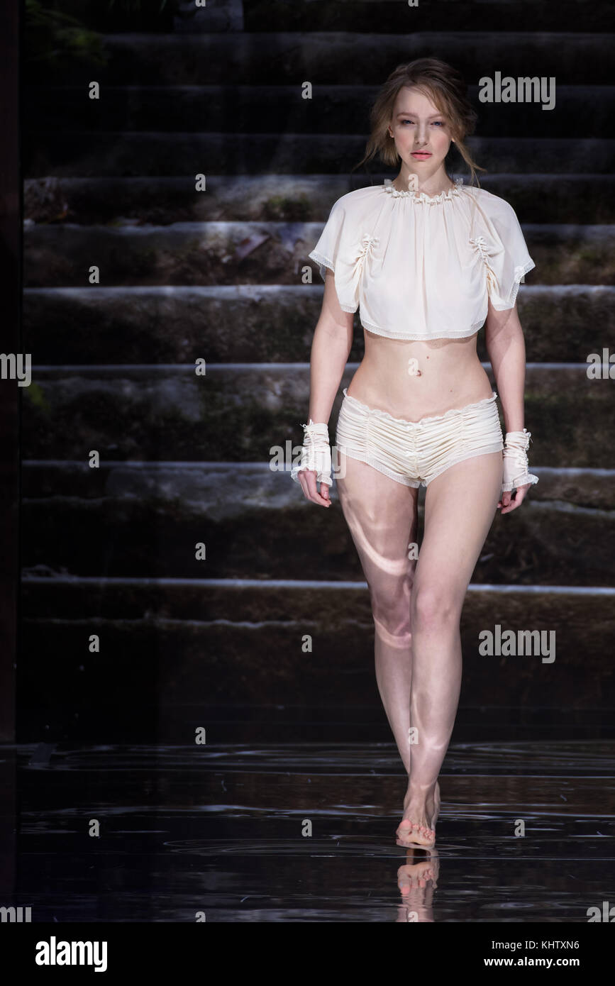 St. Petersburg, Russia - November 17, 2017: Collection of lingerie by Tanya Khromykh in the fashion parade of St. - Stock Image