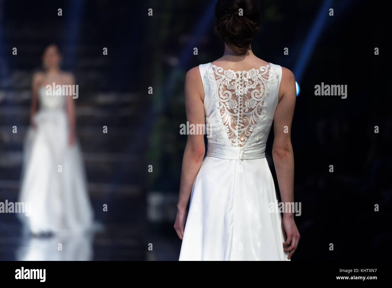 St. Petersburg, Russia - November 17, 2017: Wedding dress By Florentseva in the fashion parade of St. Petersburg - Stock Image