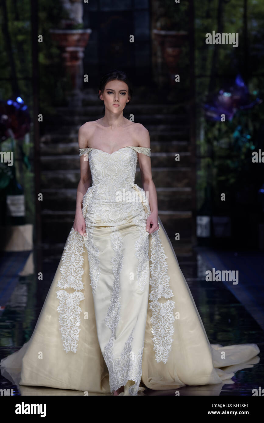 St. Petersburg, Russia - November 17, 2017: Gala fashion parade during second day of St. Petersburg Bridal Fashion - Stock Image