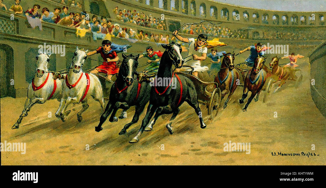 CHARIOT RACE in ancient Rome from a cigarette card about 1910 - Stock Image