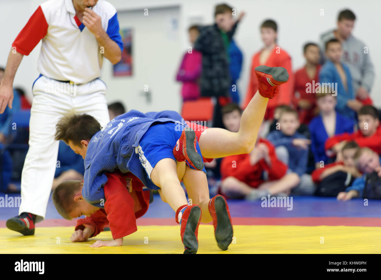 St. Petersburg, Russia - November 19, 2017: Young athletes competes in sambo wrestling during the All-Russian Sambo - Stock Image