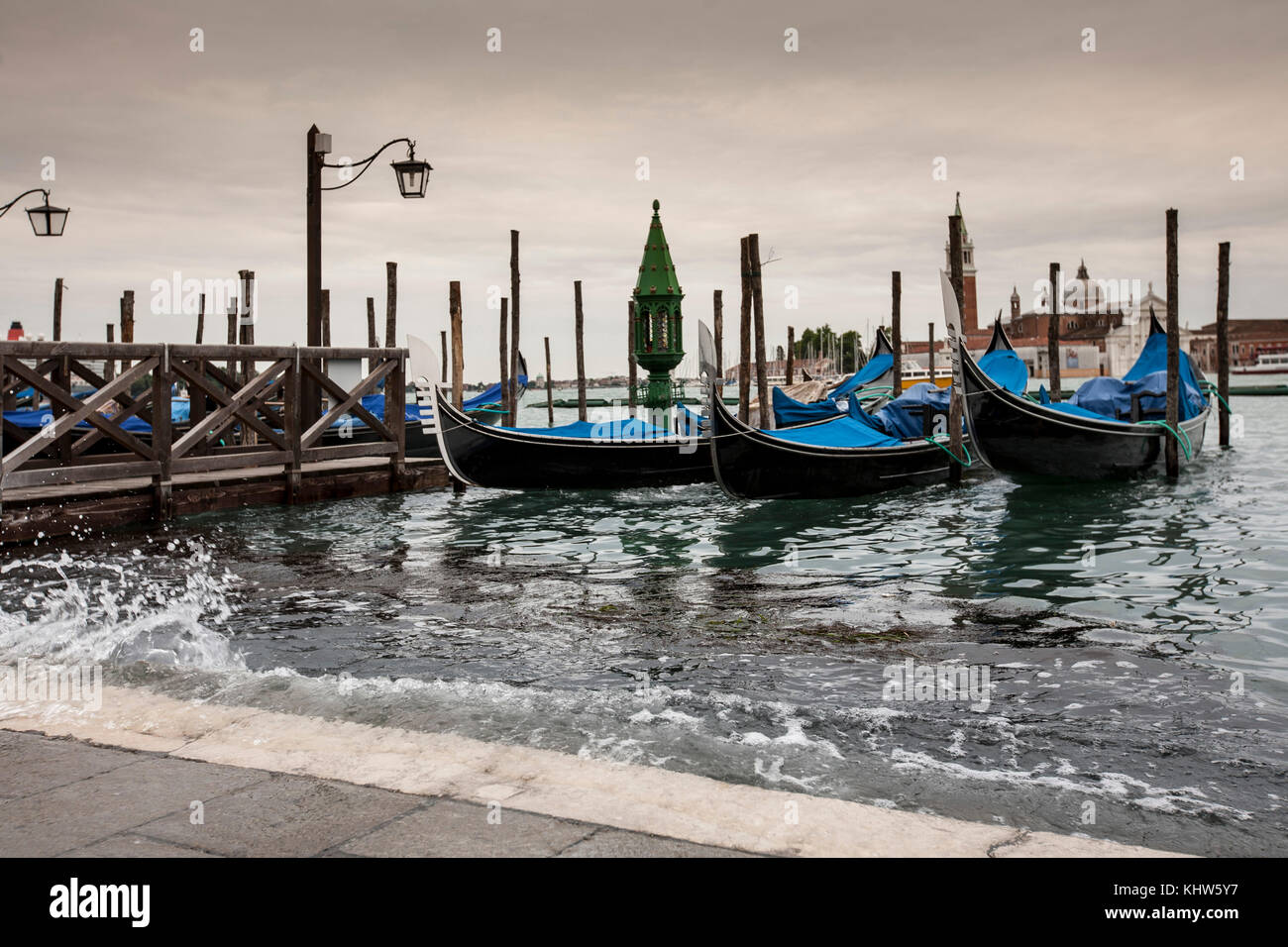 High water rising up to St Mark's Square, Venice, Italy - Stock Image