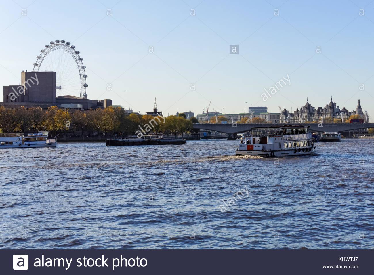 London Eye River Cruise Boat Stock Photos & London Eye