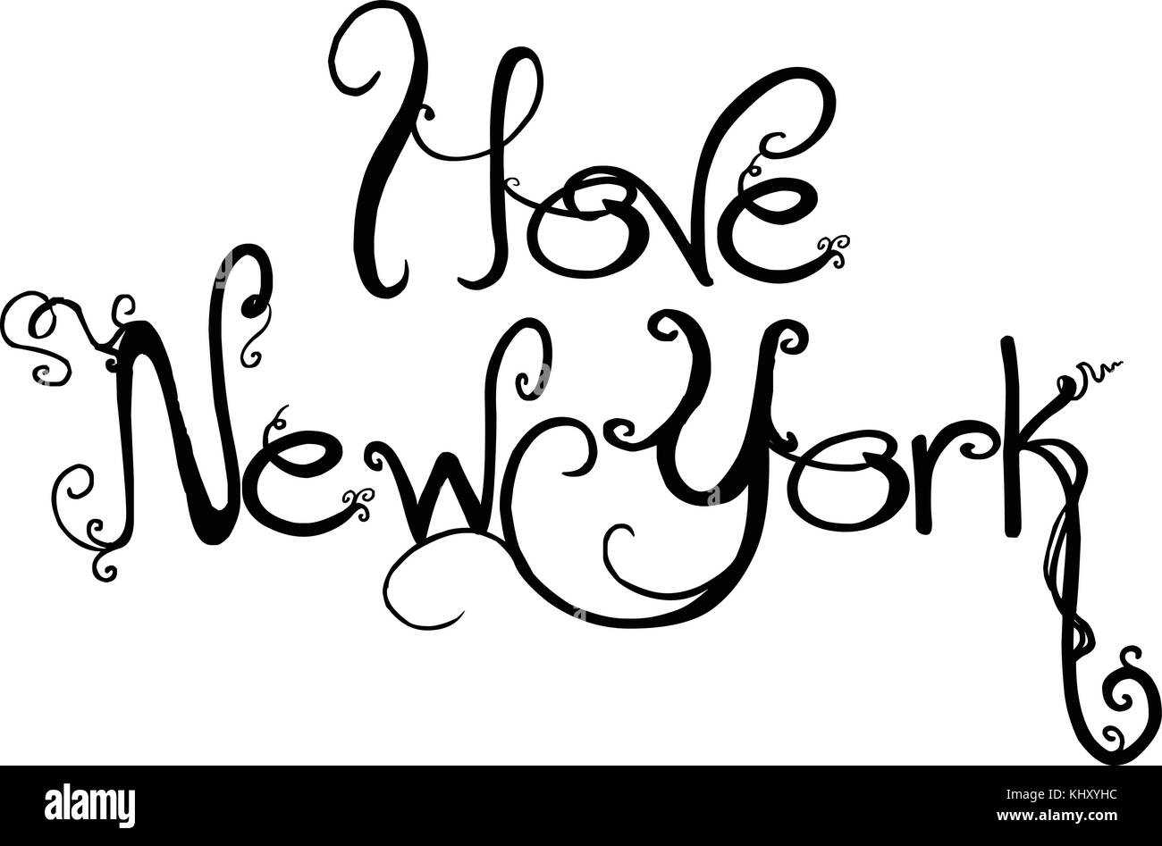 I Love New York text sign isolated on white Background. - Stock Image