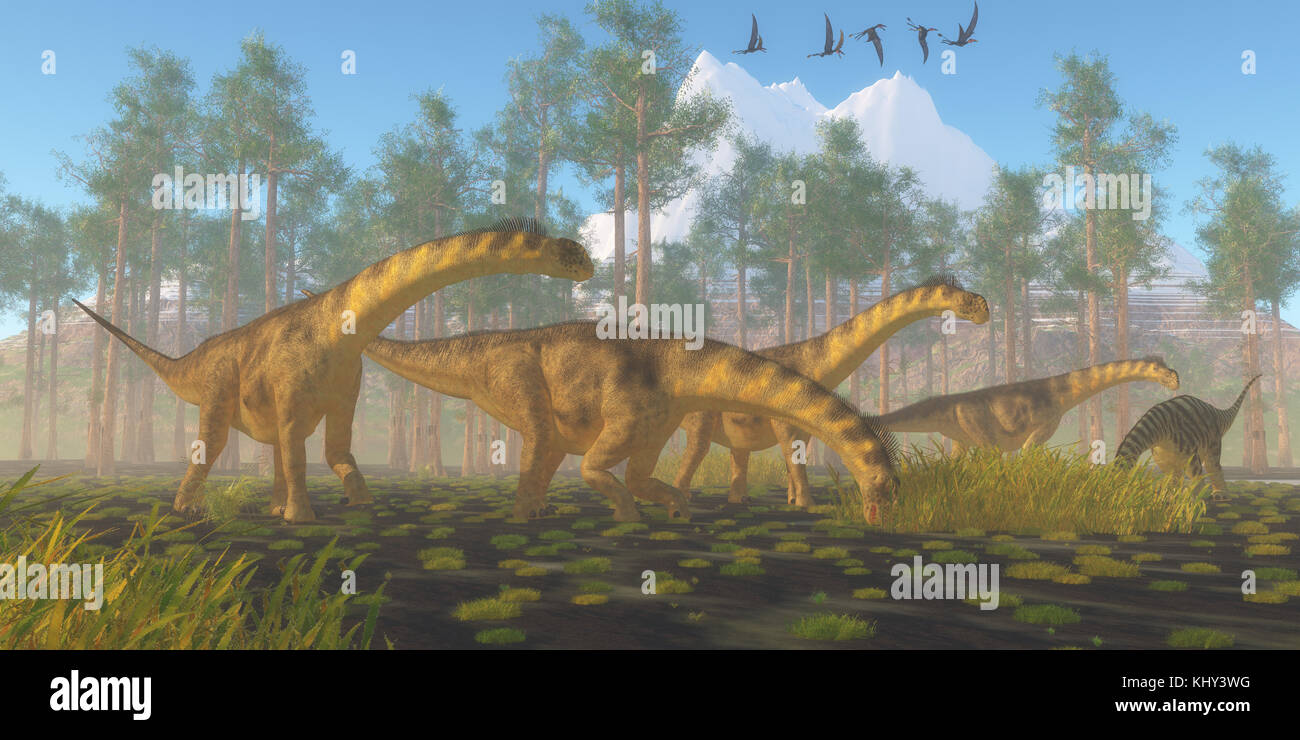 Camarasaurus Dinosaur Herd - A flock of Dorygnathus reptiles fly over a herd of Camarasaurus dinosaurs busy eating - Stock Image