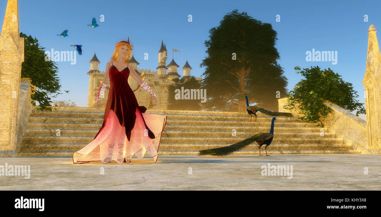 Fairytale Castle - Bluebirds of Happiness fly over castle steps as a young woman shares her day with two Peacock - Stock Image