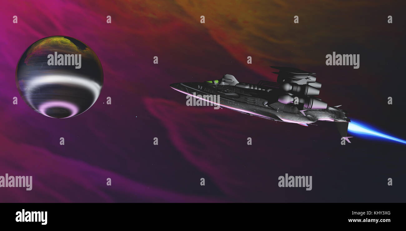 Gas Planet and Spaceship - A spaceship nears an intriguing large gas planet to study its atmosphere and bright rings - Stock Image