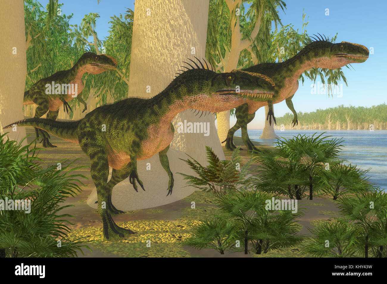 Monolophosaurus Dinosaurs - A group of Monolophosaurus dinosaurs come to a shore to drink and watch for prey in - Stock Image