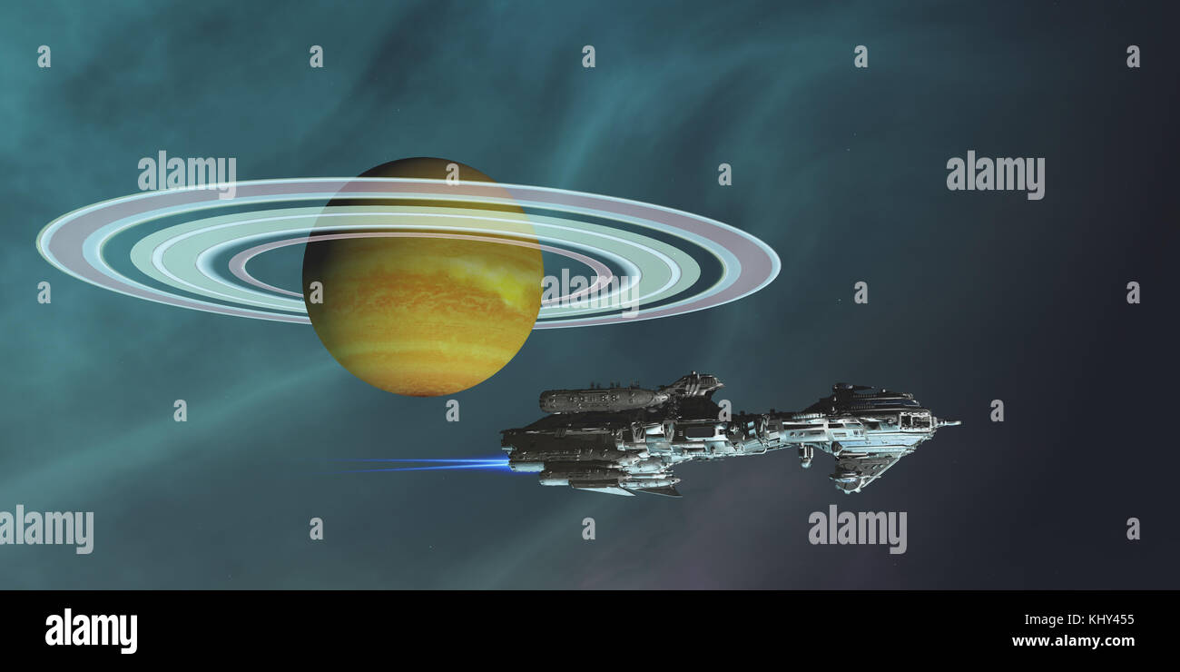 Space Frigate Freighter - A spaceship hauls freight from an outpost colony on one of Saturn's moons in the future - Stock Image