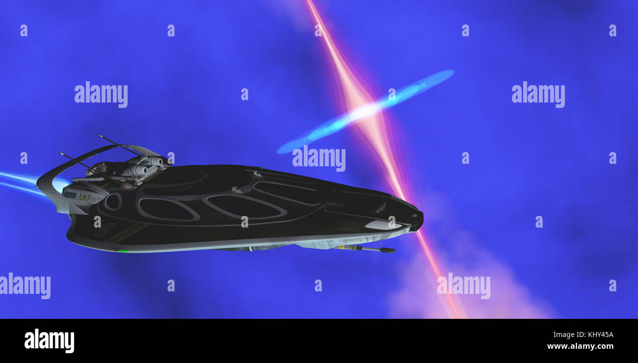 Stinger Star-ship - A starcraft carries its passengers across the cosmos and encounters a black hole radiating plasma. - Stock Image