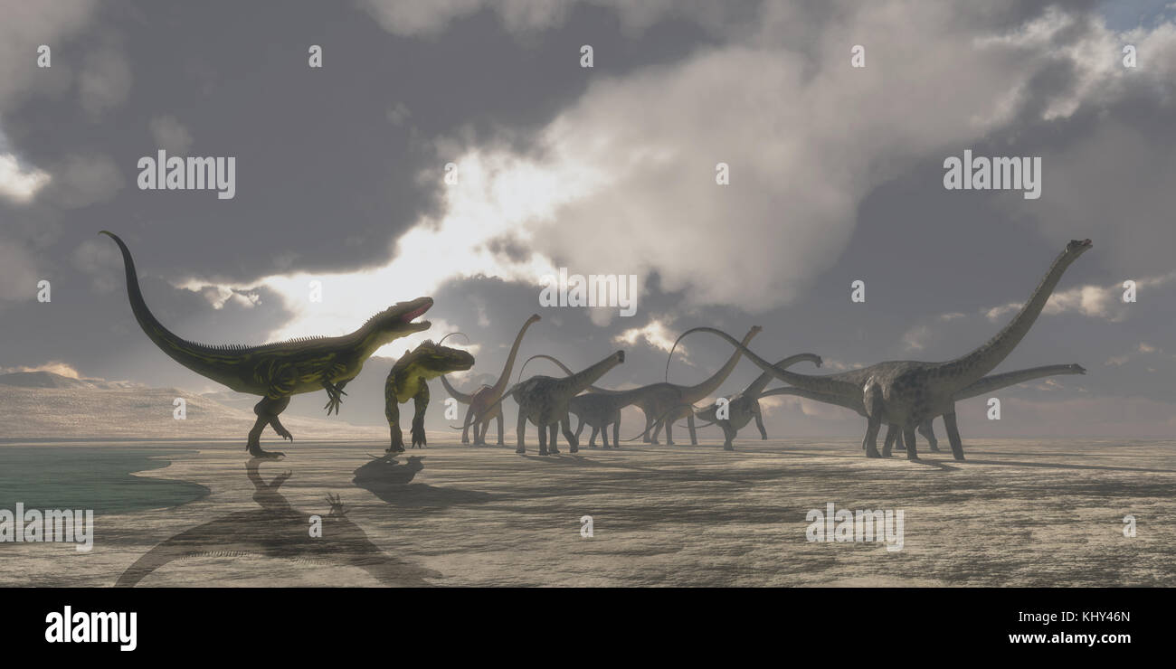 Torvosaurus and Diplodocus Dinosaur-A Diplodocus dinosaur herd gets very upset as two Torvosaurus dinosaurs kept - Stock Image