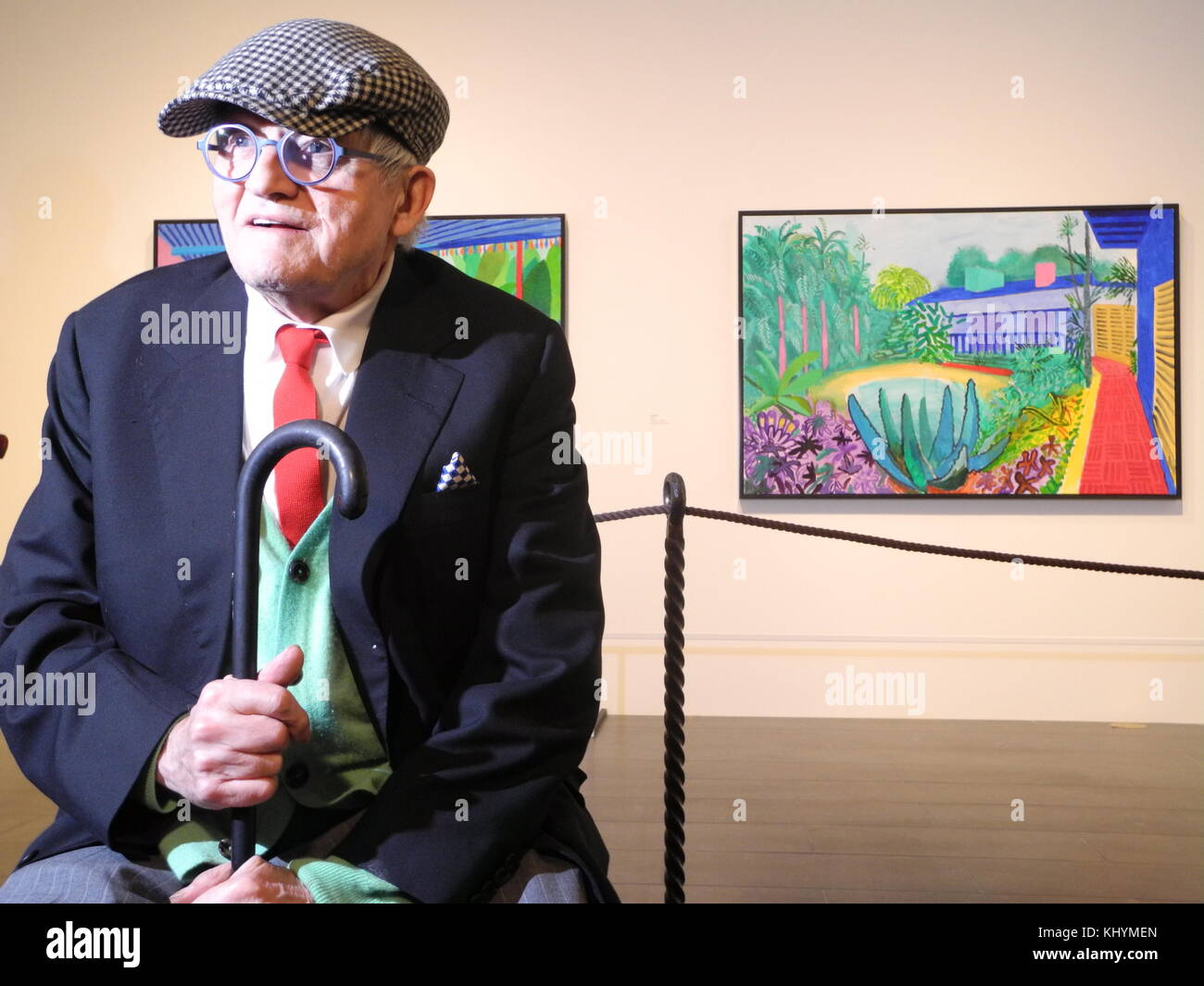New York, USA. 20th Nov, 2017. David Hockney sitting in front of his 'Garden' painting at the Metropolitan - Stock Image