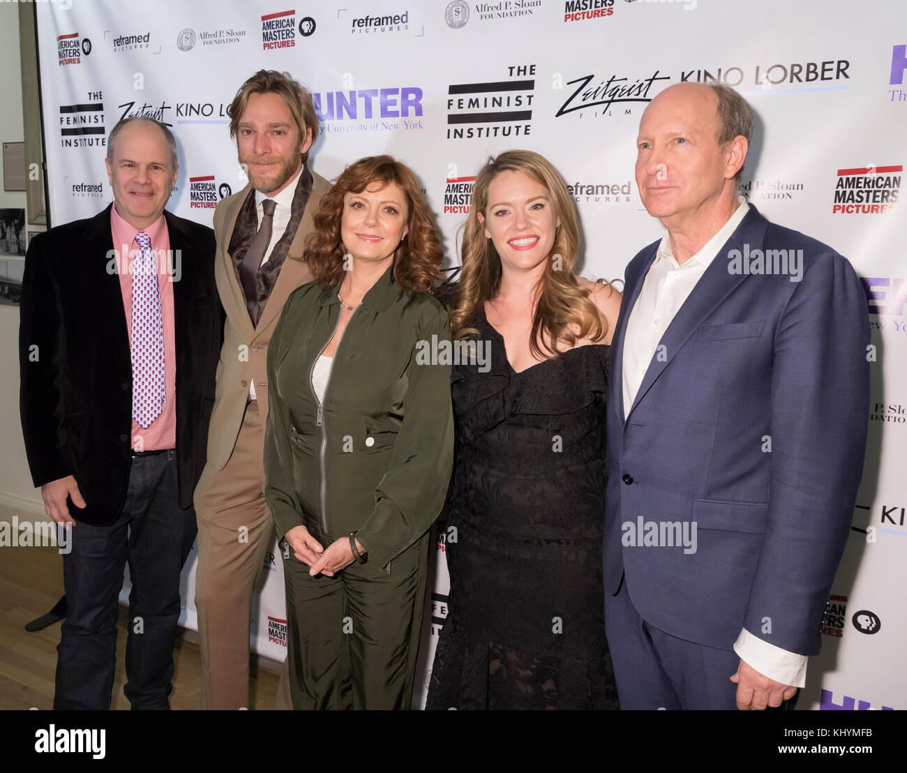 New York, USA. 20th Nov, 2017. (L-R) Michael Cantor, Adam Haggiag, Susan Sarandon, Alexandra Dean and Doron Weber - Stock Image